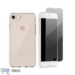 iPhone 7/8/SE 2020 zwarte hardcase + tempered glass