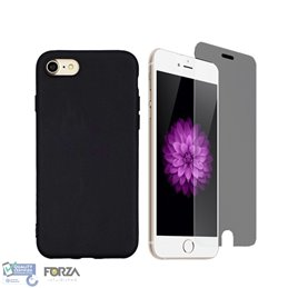 iPhone 7/8 Plus zwarte hardcase + tempered glass